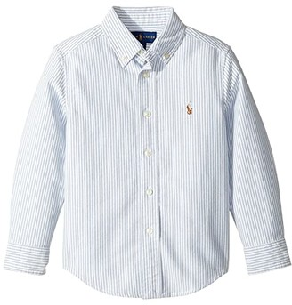 Polo Ralph Lauren Kids Striped Cotton Oxford Shirt (Little Kids/Big Kids) (Light Blue Stripe) Boy's Long Sleeve Button Up