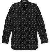Balenciaga Button-Down Collar Printed Cotton-Twill Shirt