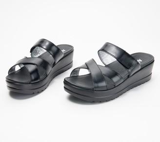 Alegria Leather Adjustable Slip-On Wedges- Mira