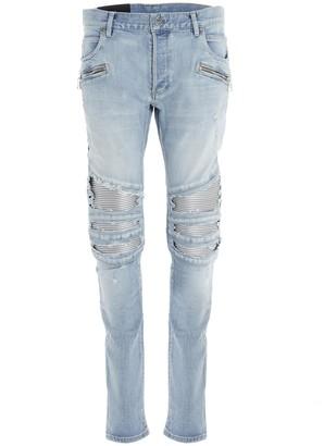 Balmain Biker Ribbed Slim Fit Jeans