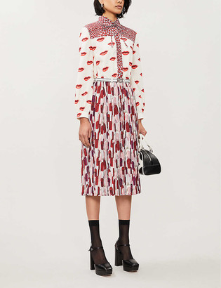 Prada Lip-print crepe mini dress