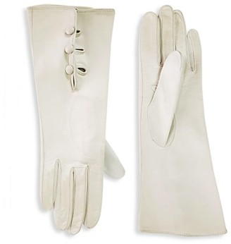Saks Fifth Avenue Silk-Lined Leather Gloves