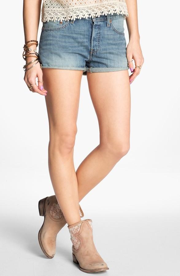 Levi's '501' High Waist Cuff Denim Shorts (Bright Idea) (Juniors)