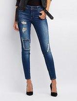 Charlotte Russe Refuge Destroyed Patchwork Skinny Jeans