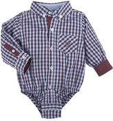 Andy & Evan Long-Sleeve Poplin Gingham ShirtzieTM, Maroon, Size 3-24 Months