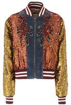 Gucci Sequinned cotton varsity jacket