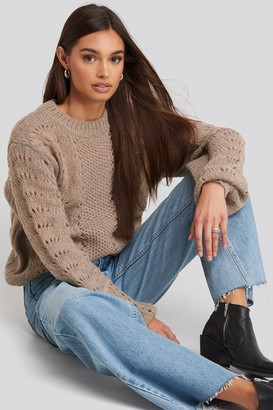 NA-KD Pattern Knitted Round Neck Sweater Green