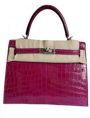 Hermes Kelly 25 Pink Crocodile Handbags