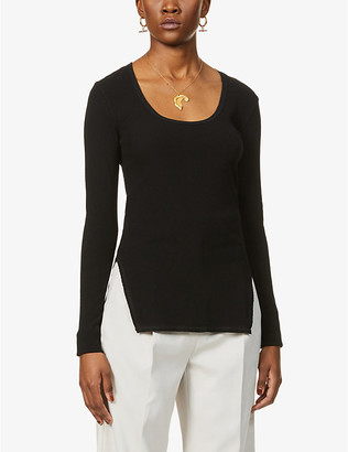 Bassike Scoop-neck ribbed stretch-cotton top