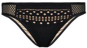 Jets Mesh-trimmed Laser-cut Low-rise Bikini Briefs