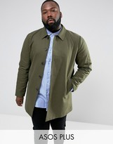 Asos PLUS Shower Resistant Single Breasted Trench Coat In Khaki