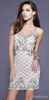 Kim Kiran V-neck Low Back Sequin Beaded Cocktail Dress