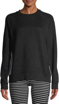 Avia Women's Athleisure Tape Stripe Crewneck Sweatshirt