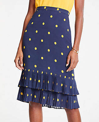 Ann Taylor Tall Polka Dot Pleated Pencil Skirt