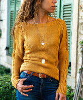 Cck Style CCK Style Women's Pullover Sweaters Mustard - Mustard Cable-Knit Wool-Blend Sweater - Women