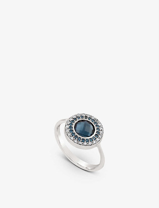 THE ALKEMISTRY Dinny Hall Double Halo 14ct white-gold, blue topaz, blue diamond and white diamond pinky ring