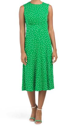 Print Matte Jersey Inset Waist Midi Dress