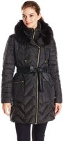 Via Spiga Women's Asymmetrical Belted Down with Faux Fur Hood