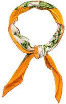 Hermes Au Coeur Des Bois Silk Plissé Scarf
