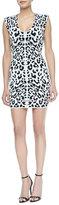 Torn By Ronny Kobo Leanna Leopard Print Body Conscious Dress, White/Black