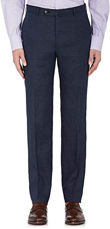 Isaia Men's Cortina Linen Flat-Front Trousers