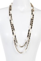 Natasha Accessories Faux Pearl Ribbon Chain Layered Necklace