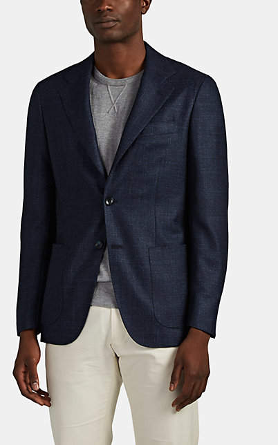 Kiton Men's KB Wool-Blend Two-Button Sportcoat - Navy