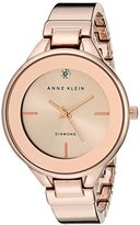 Anne Klein Women's AK/1410RGRG Diamond-Accented Bangle Watch