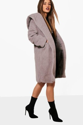 boohoo Petite Oversized Hooded Teddy Coat