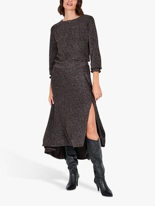 Hush Freya Asymmetric Side Slit Glitter Dress, Black