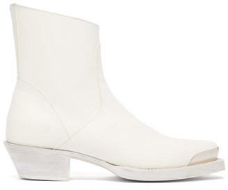 Vetements Cuban-heel Leather Boots - Mens - White