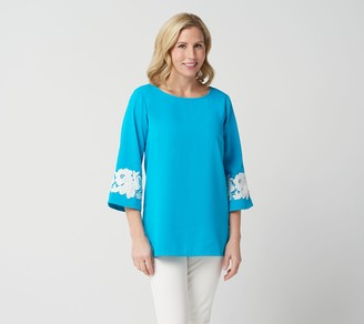 Linea by Louis Dell'Olio Pullover Top w/ Lace Applique on Sleeve