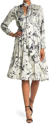 SEVENTY VENEZIA Abstract Floral Print Tie Neck Dress