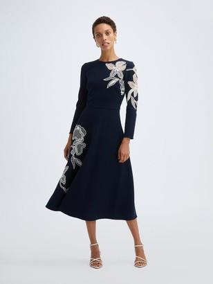 Oscar de la Renta Stretch Wool Long Sleeve Embossed Dress