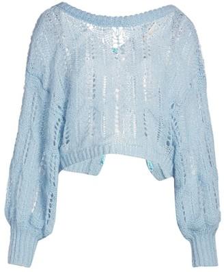 LoveShackFancy Eugenia Puff-Sleeve Open-Weave Sweater