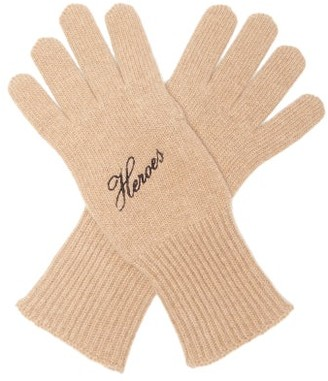 Raf Simons Heroes Embroidered Wool-blend Gloves - Camel