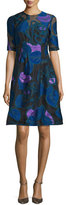 Lela Rose Holly Leaf Half-Sleeve Dress, Lapis/Multi