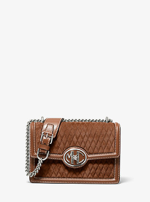Michael Kors Monogramme Small Quilted Suede Chain Shoulder Bag - Luggage Brown