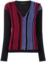 Versace frayed stripe v-neck jumper
