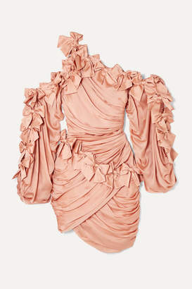 Zimmermann Sabotage Bow-detailed Draped Silk-satin Mini Dress - Blush