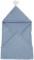Nicola Levy Hooded Baby Blanket-BLUE