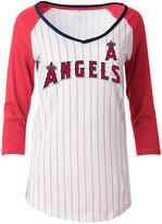 5th & Ocean Women's Los Angeles Angels of Anaheim Pinstripe Glitter Raglan T-Shirt