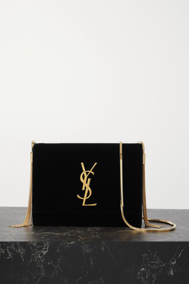 Saint Laurent Box Velvet Shoulder Bag - Black