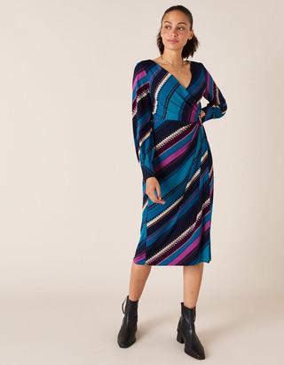 Monsoon Stripe Print Wrap Jersey Midi Dress Teal