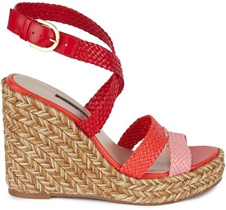 Stuart Weitzman Elsie Leather Espadrille Wedge Sandals