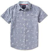Nautica Big Boys 8-20 Sailboat-Print Short-Sleeve Woven Shirt