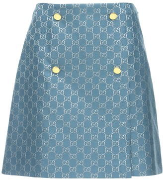 Gucci Gg Wool Lame Mini Skirt W/buttons