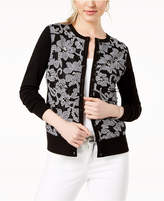 Charter Club Embroidered Lace-Contrast Cardigan, Created for Macy's