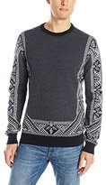French Connection Men's Engineered Fairisle Knits Crew Neck Sweater