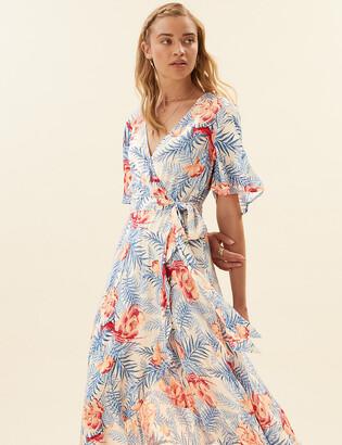 Marks and Spencer Crepe Floral V-Neck Midi Wrap Dress